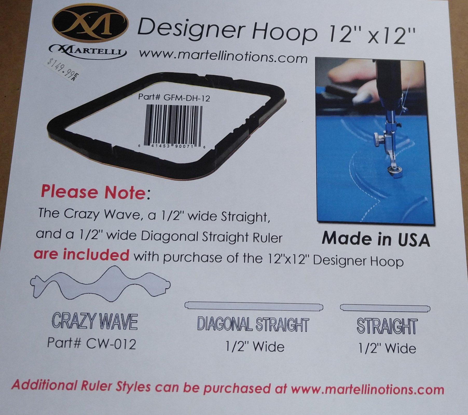 Martelli Designer Hoop 12x12 plus 3 rulers