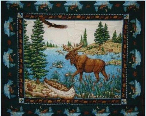 Moose Lake Fabric Cotton Panel 35'' x 42''