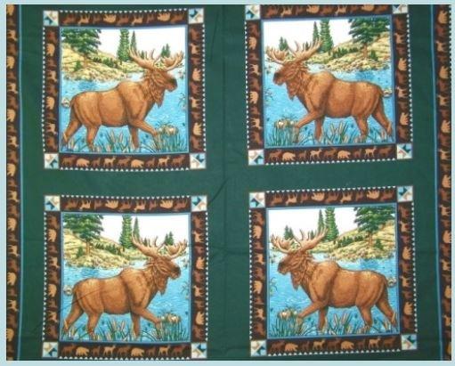 Moose Lake Pillow Panels 4 per yard 100% COTTON