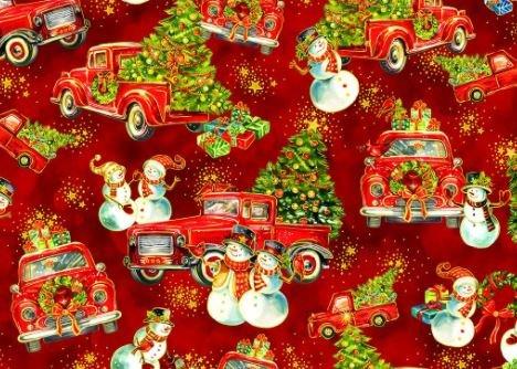 Noel Trucks, Snowman Fabric by Oasis Fabric