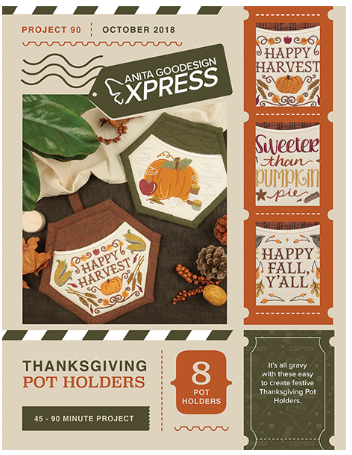 Anita Goodesign Express Thanksgiving Pot Holders Embroidery Designs