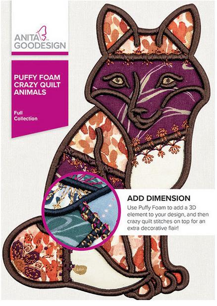 Anita Goodesign Puffy Foam Crazy Quilt Animals Embroidery Design