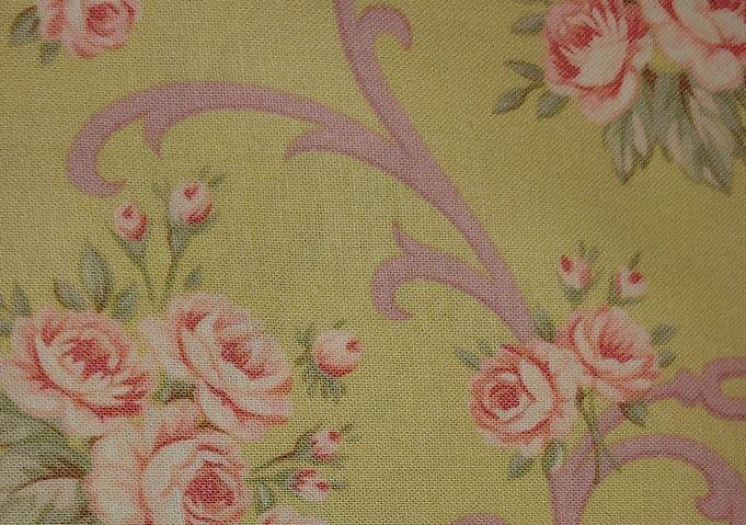 Somerset Cottage 100% Cotton Fabric Sage Bkgrd