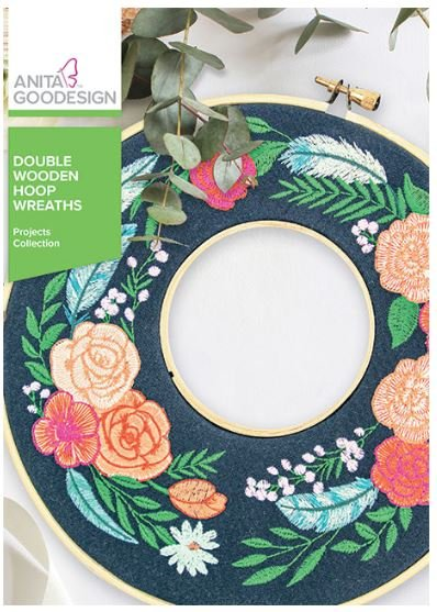 Anita Goodesign Double Wooden Hoop Wreaths Embroidery Design (Projects Collection)