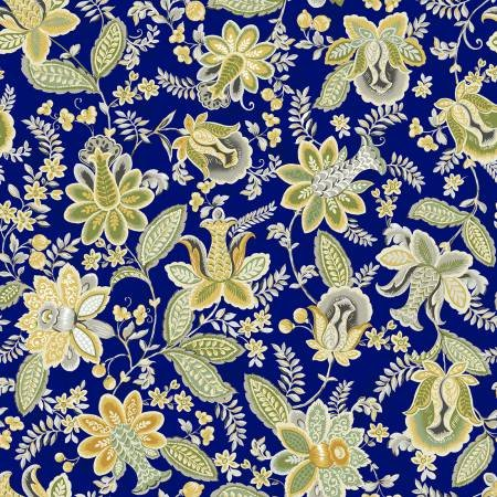 Mackenzie Collection  112-30101 Navy Jacobean Floral - 3 yard bundle