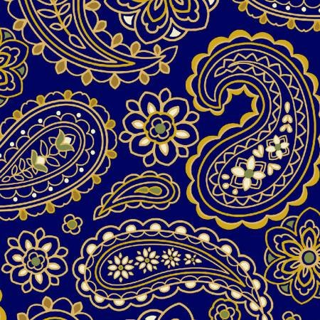 Mackenzie Collection  112-30111 Tonal Paisley Navy - 3 yard bundle