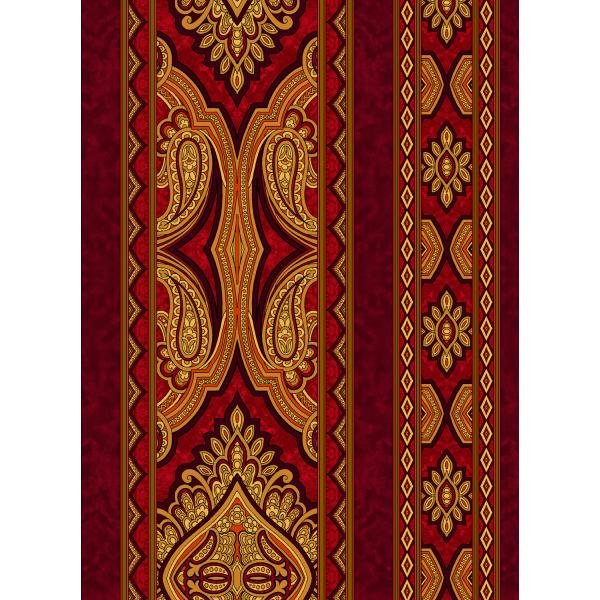 Aruba-Paisley Crimson Fabric