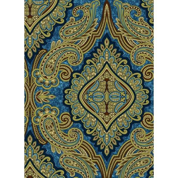 Aruba-Paisley Teal Gold Fabric