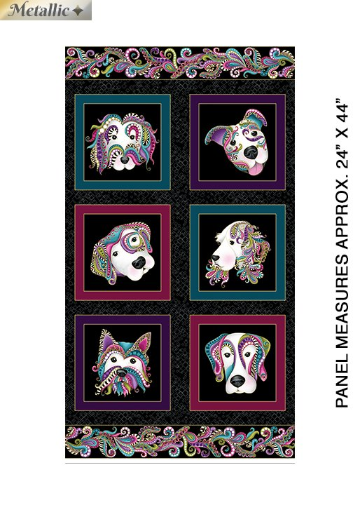 Dog On It Panel Black/Multi (Dog On It) Panel measures 24x44