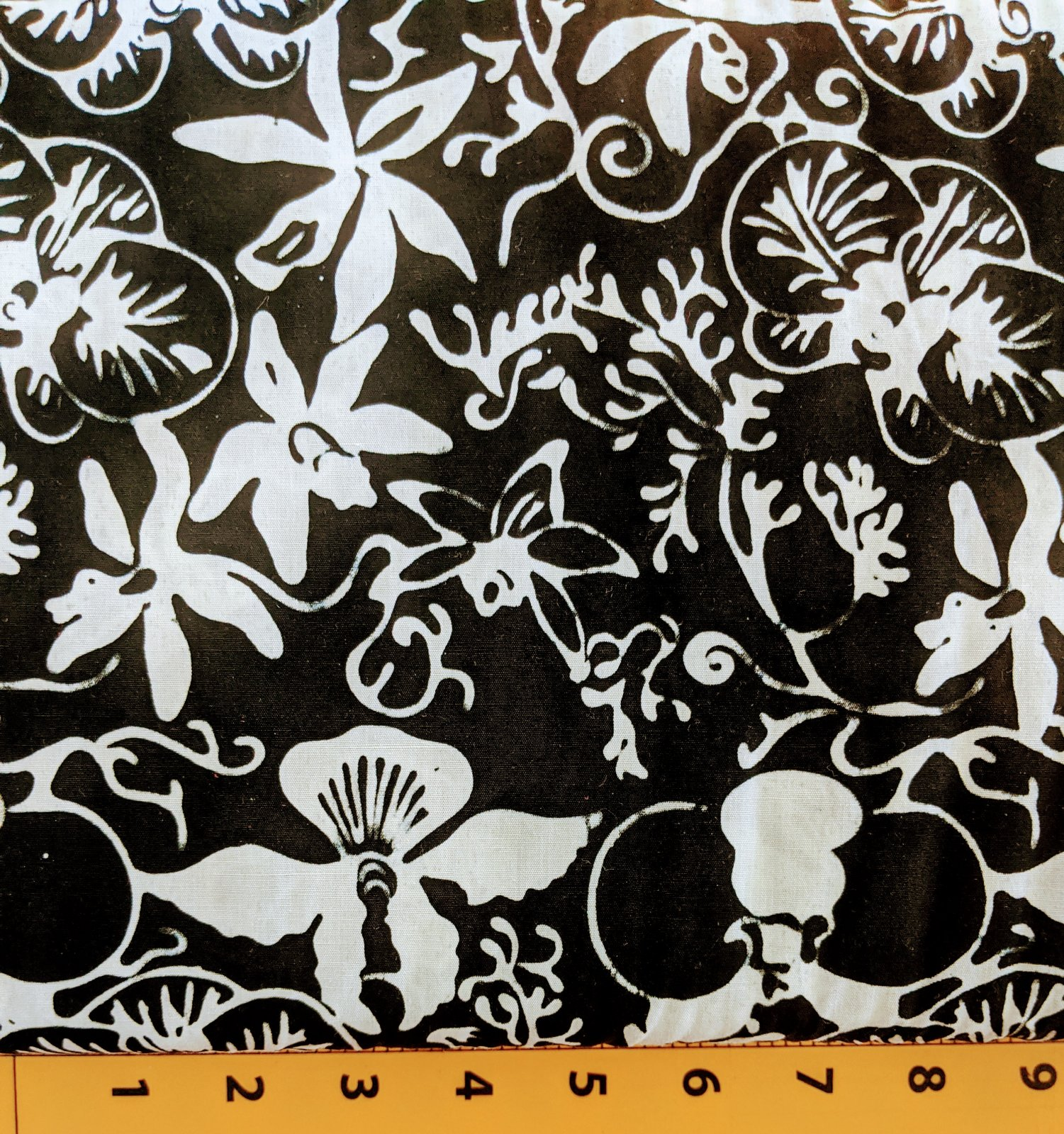 Black batik with white flowers F46-WH-BA