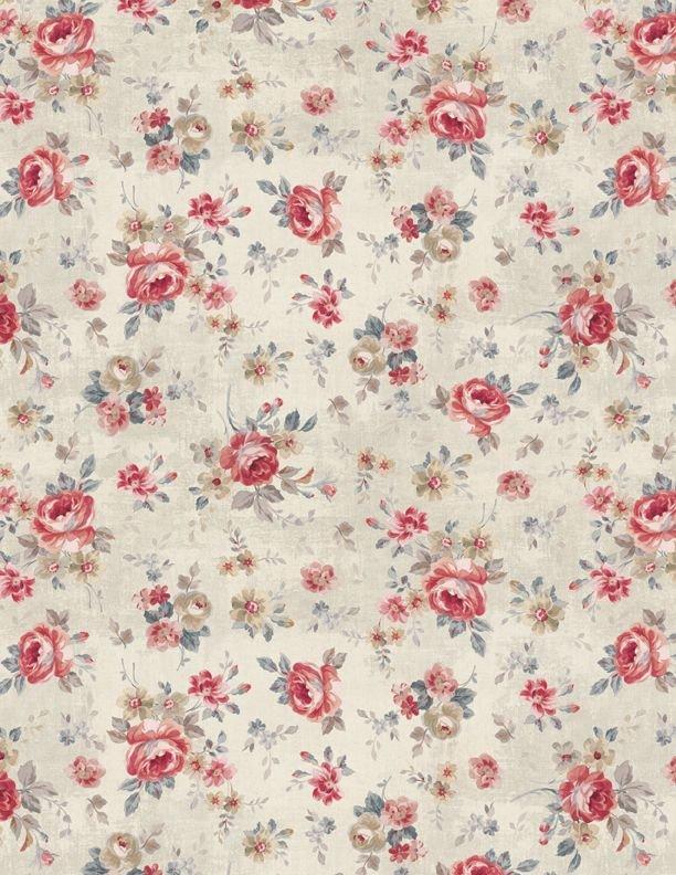 Farmhouse Chic Floral Toss Cream
