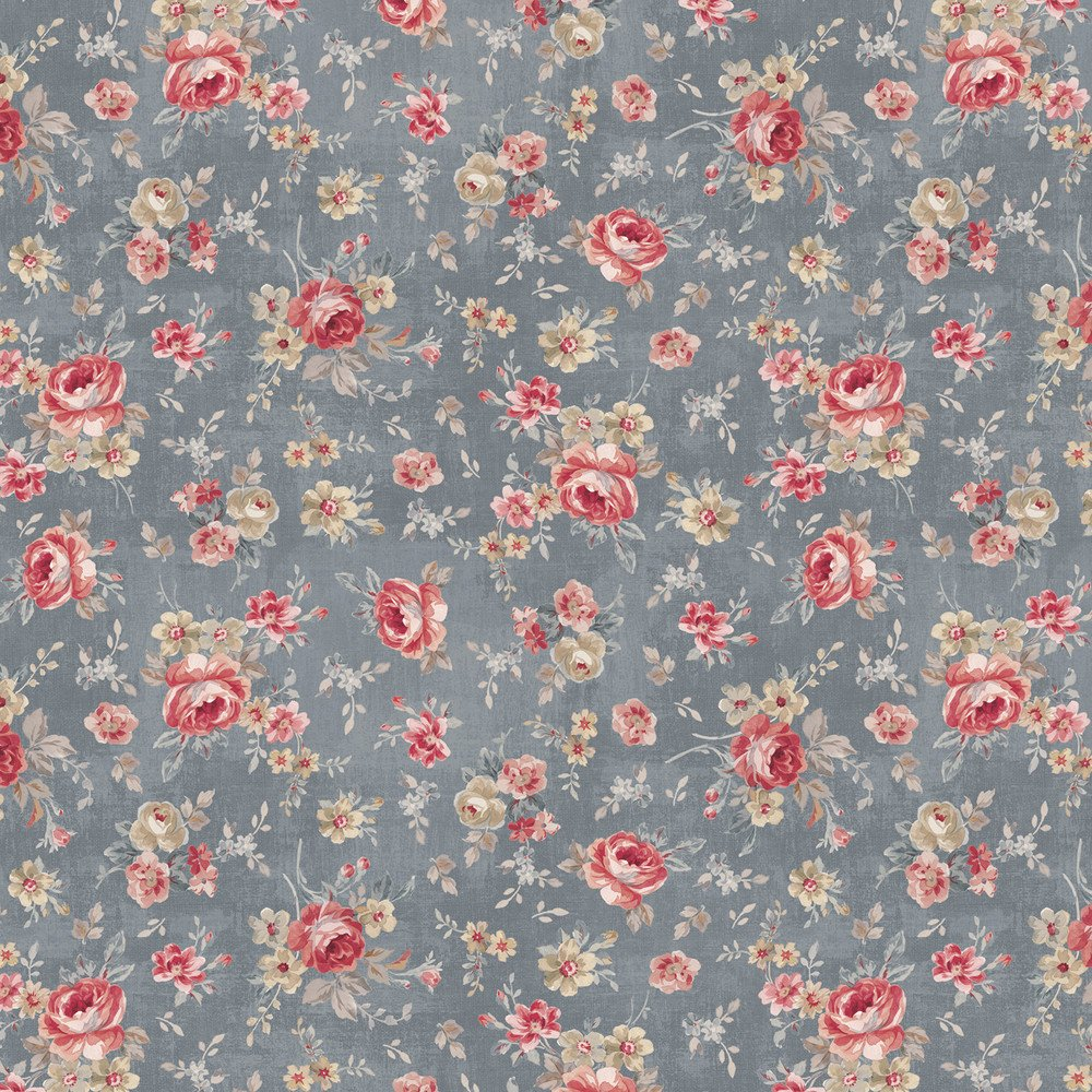 Farmhouse Chic Floral Toss Gray Blue