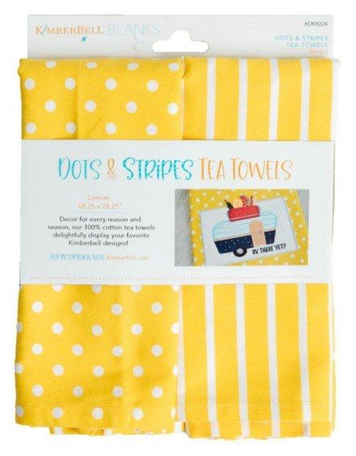 Kimberbell Dots & Stripes Tea Towels - Lemon