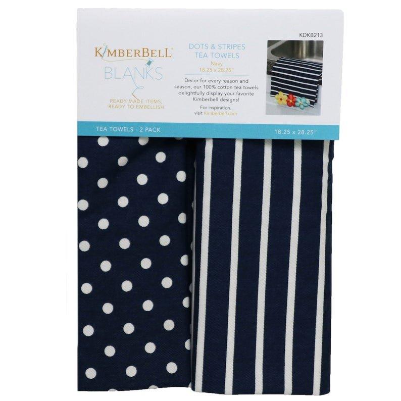 Kimberbell Dots & Stripes Tea Towels - Navy