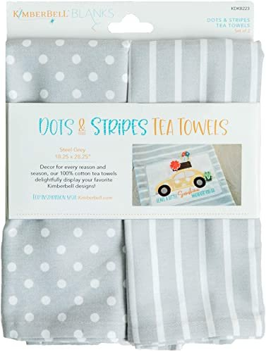 Kimberbell Blanks - Dots & Stripes Tea Towels - Steel Grey