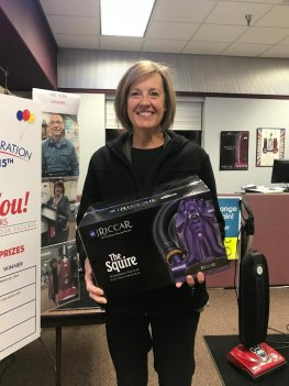 Joan Berglund 3rd prize winner of a Squire hand vac