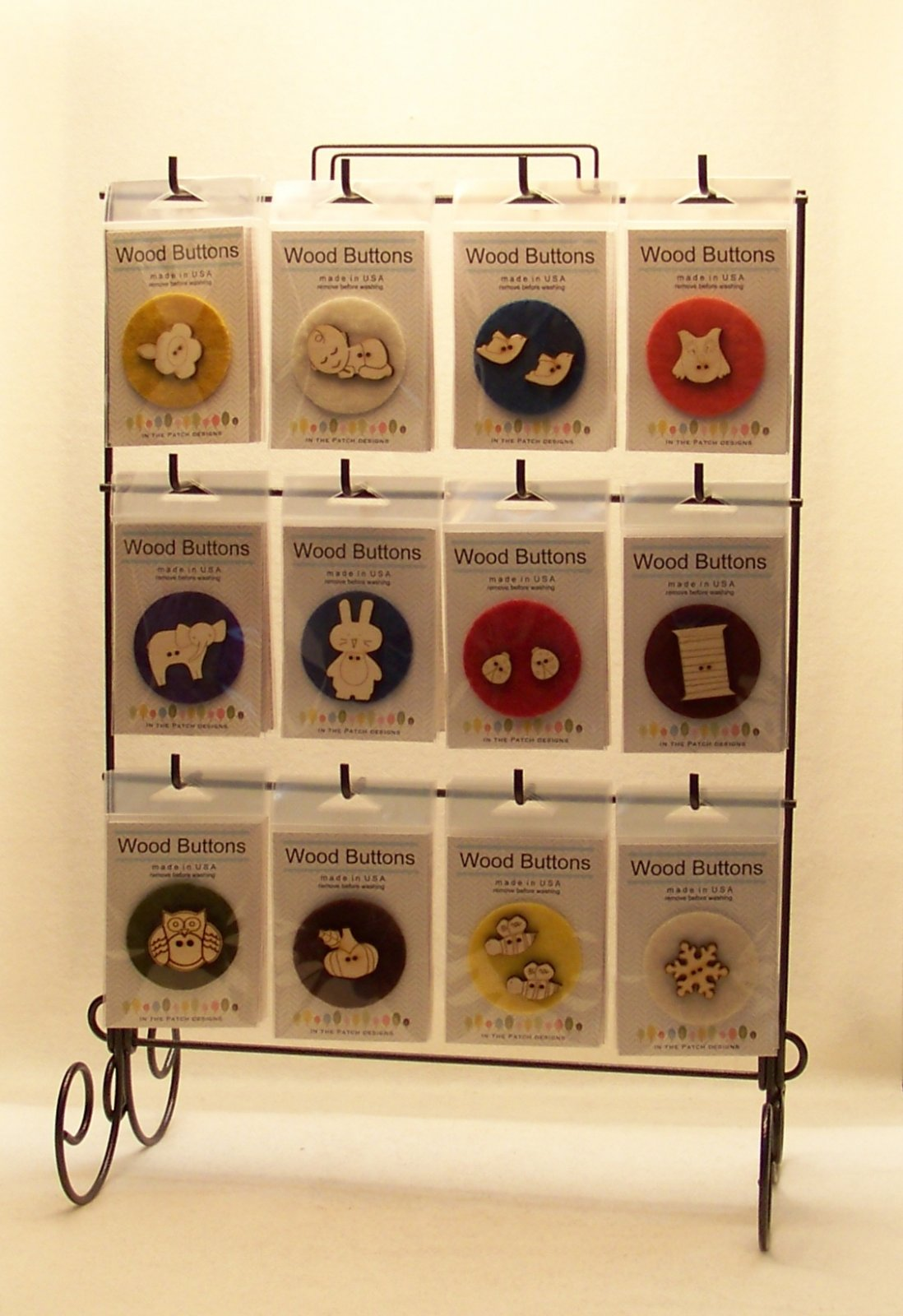 Laser Cut Wooden Button Display-General Mix and Starter Display