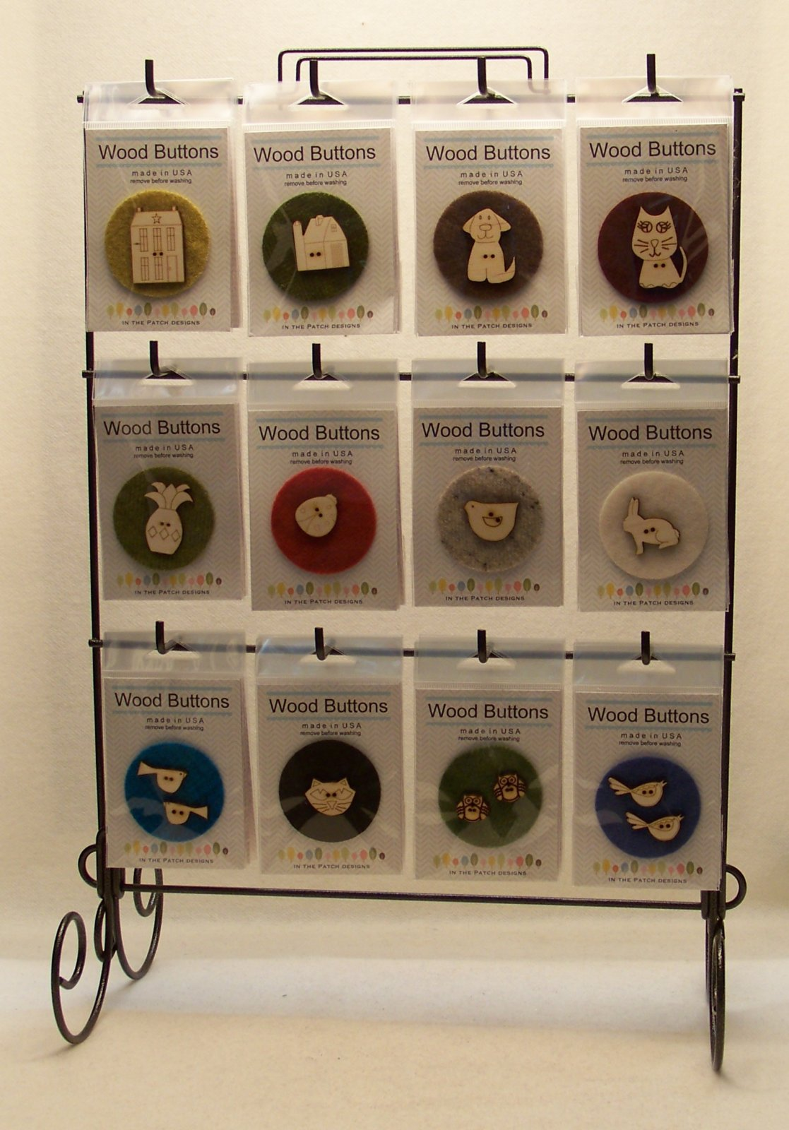 Laser Cut Wooden Button Display-Country Living