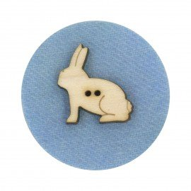 Laser Cut Wooden Buttons-Bunny Sitting