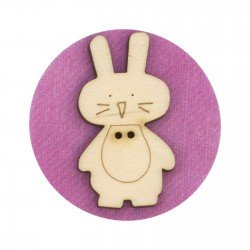 Laser Cut Wooden Buttons-Bunny Mini