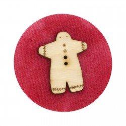 Laser Cut Wooden Buttons-Gingerbread Man