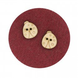 Laser Cut Wooden Buttons-Ladybug Pair