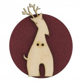 Laser Cut Wooden Buttons-Reindeer