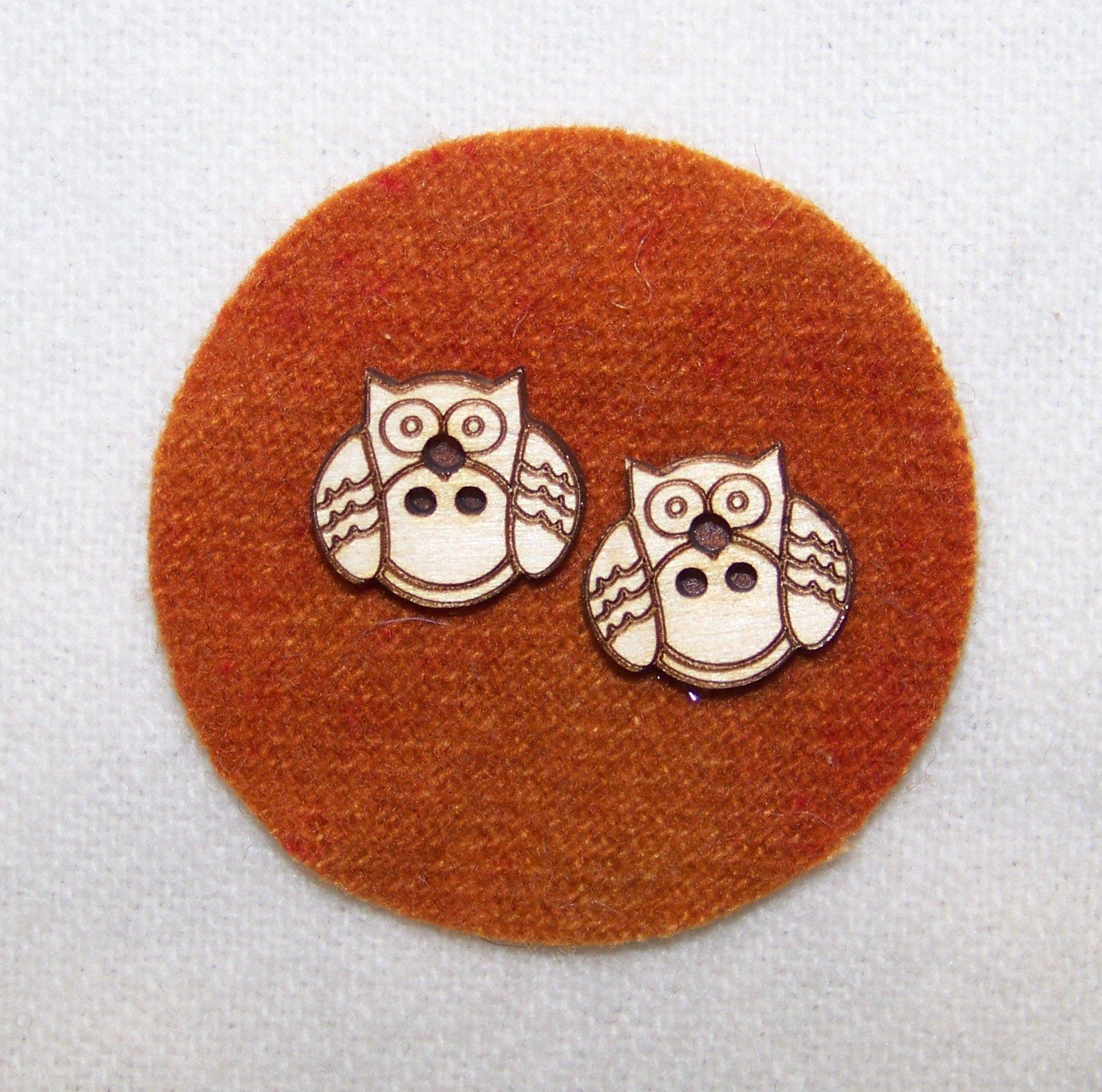 Laser Cut Wooden Buttons-Curler Owls