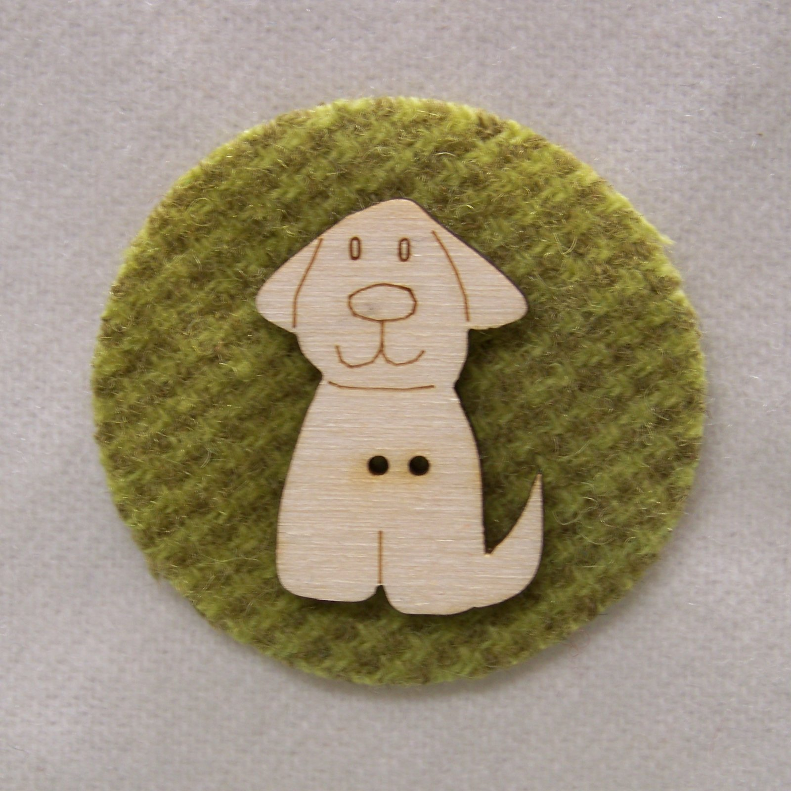 Laser Cut Wooden Buttons-Dog