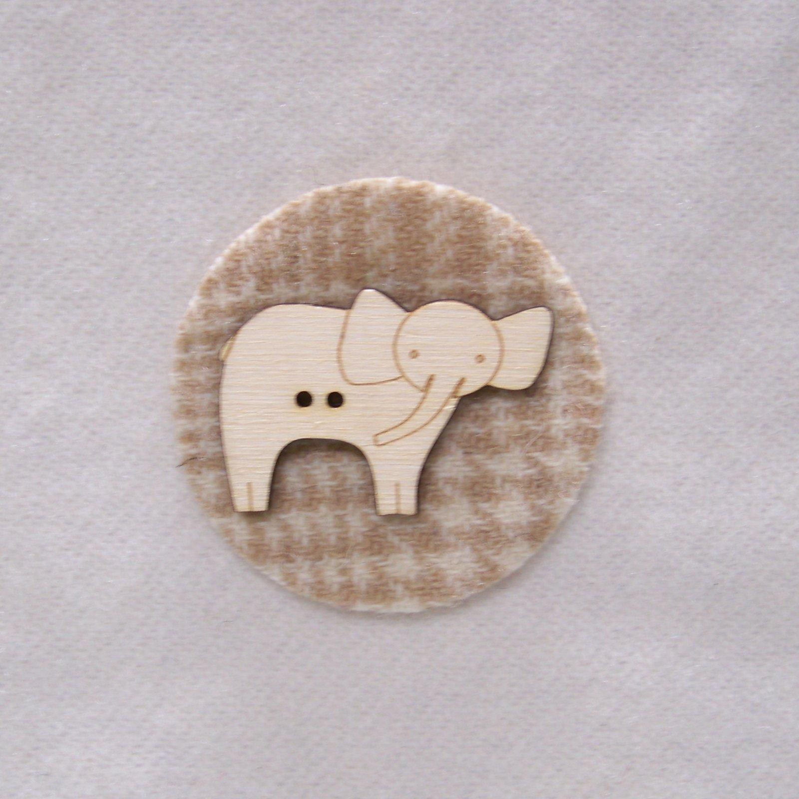 Laser Cut Wooden Buttons-Elephant