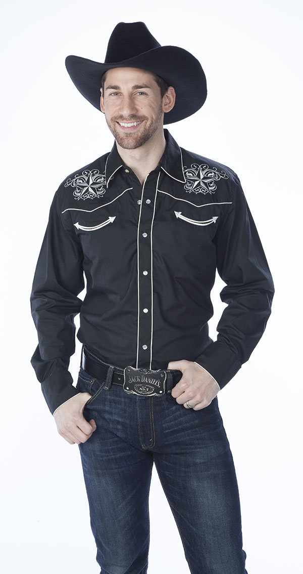 Men's Retro Shirt w/ Star Embroidery