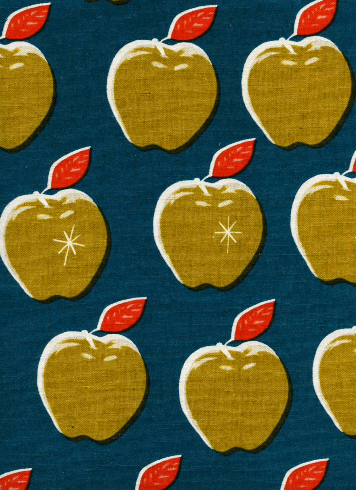 Apples in Teal/Mustard CANVAS