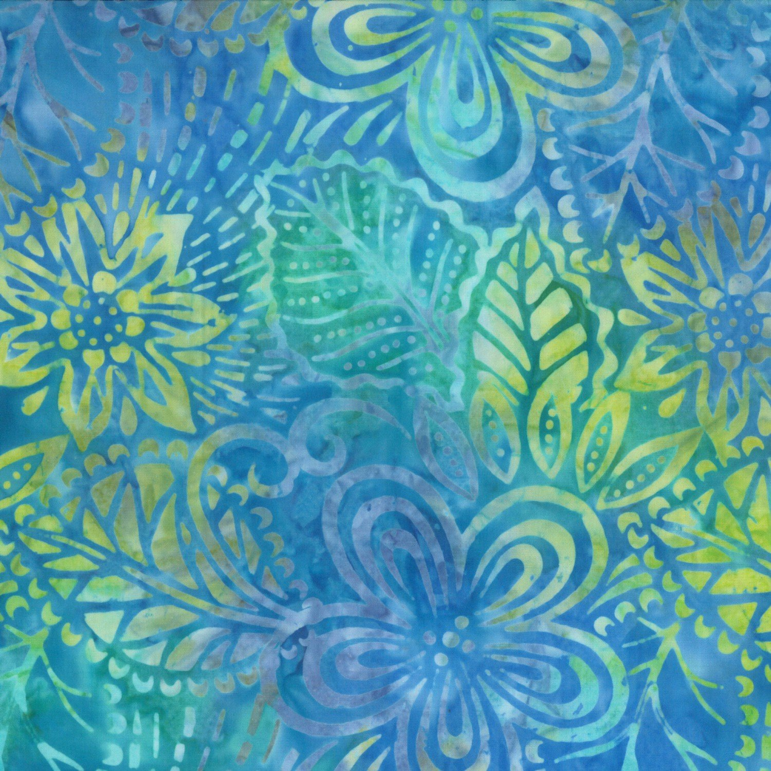 Blue Large Flowers and Leaves Batik 22152-477