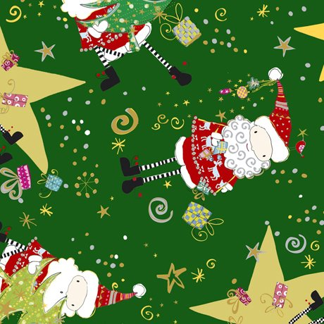 Forest Santa & Star Toss 1649-27256-F Happy Christmas by Turnowsky