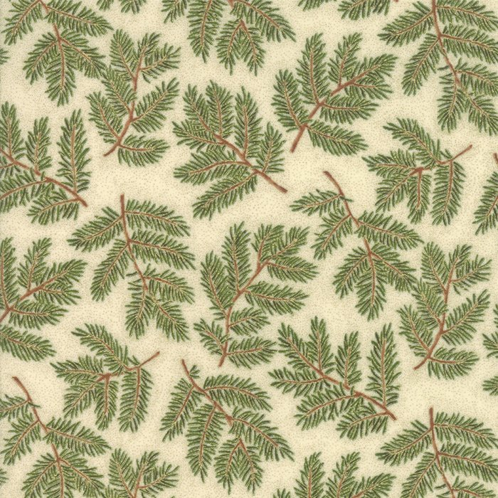 Cream Branches 33423 12M Cardinal Song Metallic by Moda Fabrics