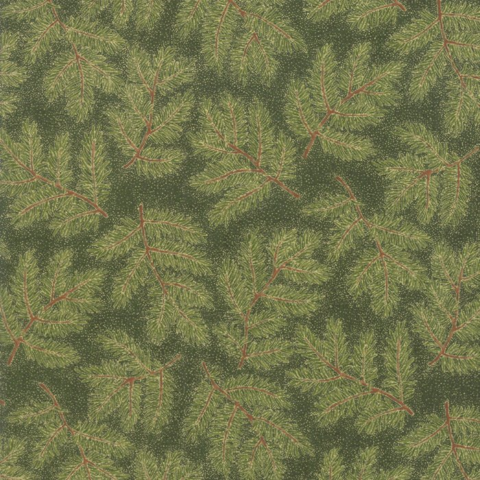 Evergreen Branches 33423 14M Cardinal Song Metallic by Moda Fabrics