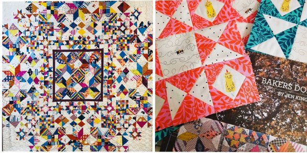 Bakers Dozen Ruby Star Quilt and Tula Pink Fabric options