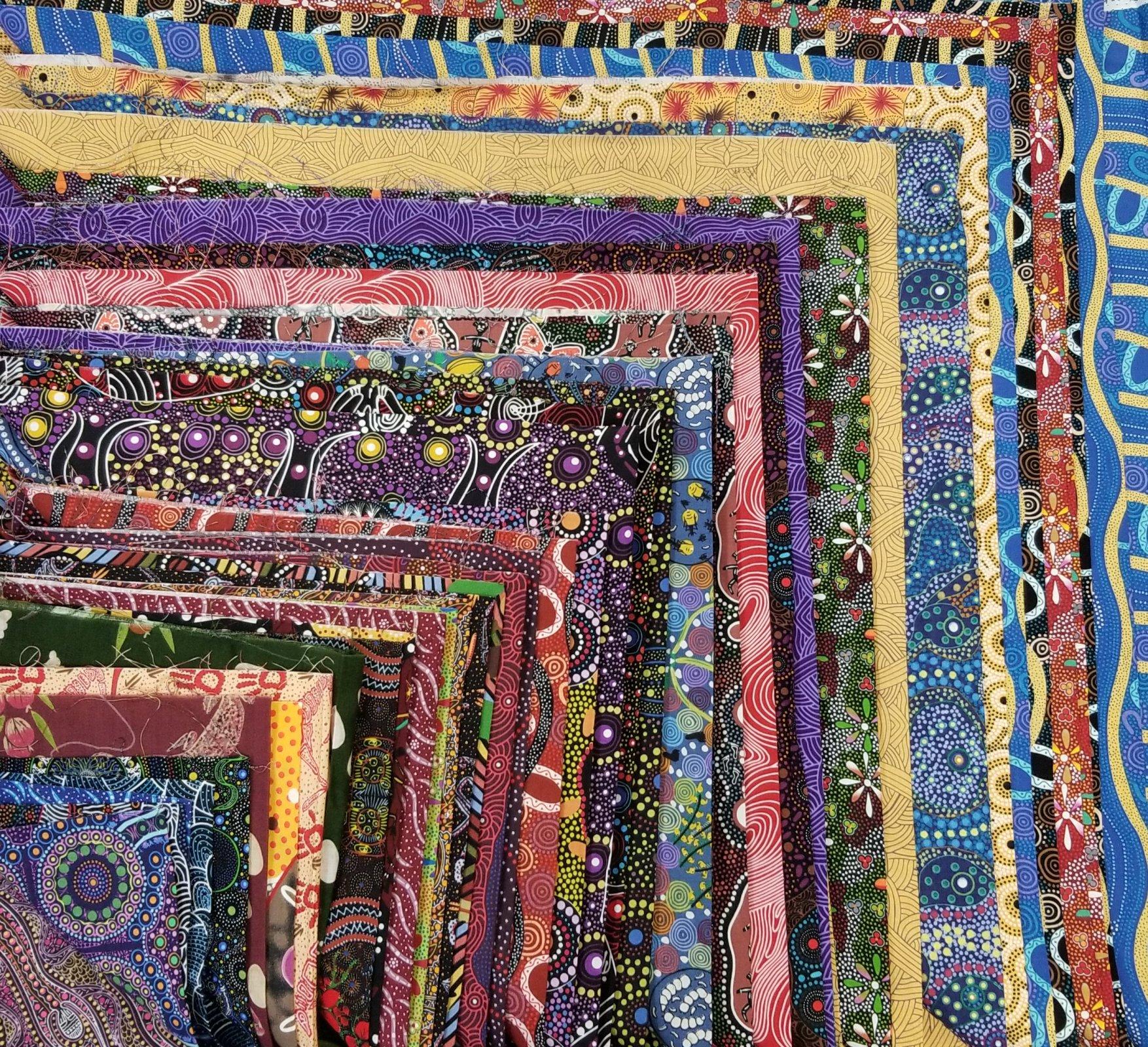 42 pcs 10in x 10in Aboriginal fabrics