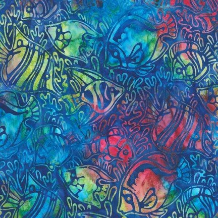 Artisan Batiks Totally Tropical Fish Blue