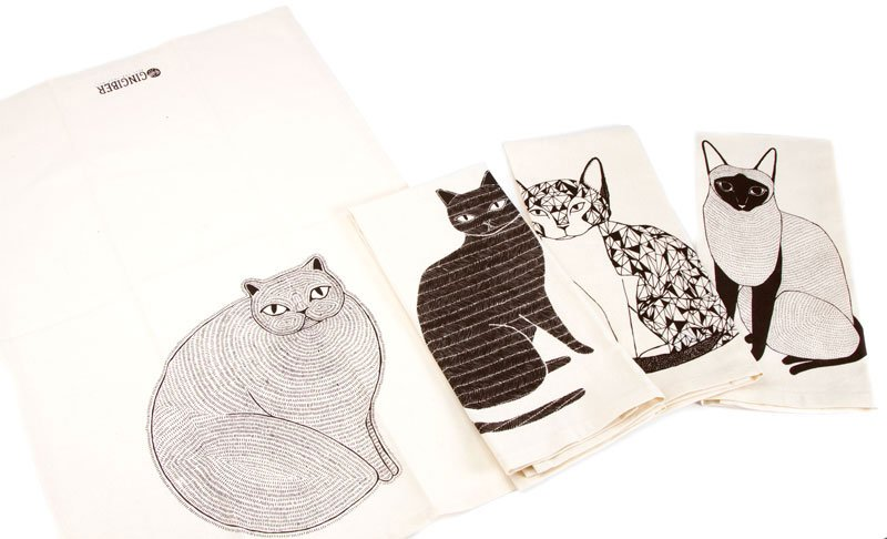 Catnip Towels 961 162 Set of 4 catnip towels by Gingiber