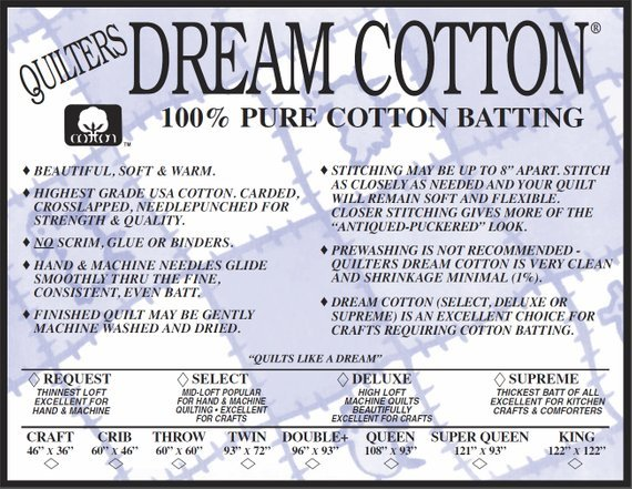 Deluxe Double Natural Dream Cotton batting Quilters Dream