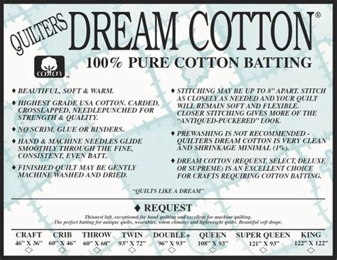 Request King Natural Dream Cotton batting