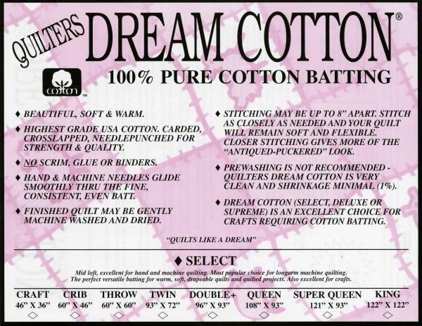 Select Double White Dream Cotton batting