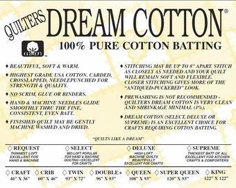 Supreme Twin Natural Dream Cotton batting