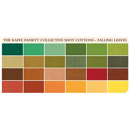 Falling Leaves Shot Cottons 5 Charm Pack (42 pieces) FB6CPGP.FALLI Kaffe Fassett Collective