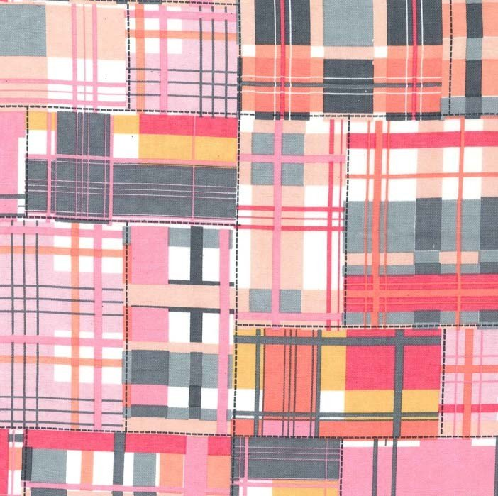 Pink Madras Patch Flannel FD5609-PINK-D Happy Elephants by Michael Miller Fabrics