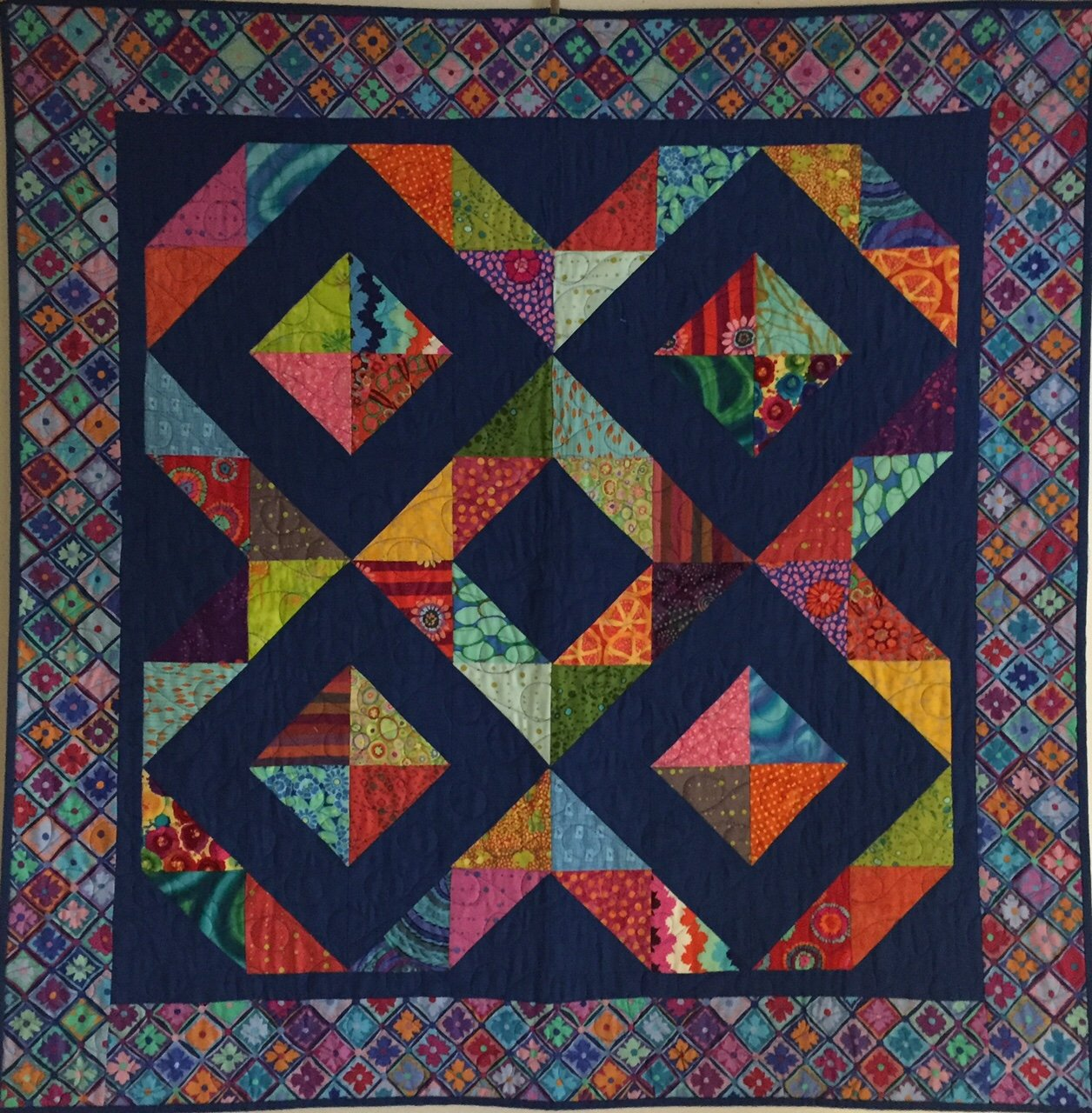 Five Square Illusion quilt