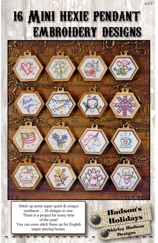 16 Mini Hexie Pendant Embroidery Designs