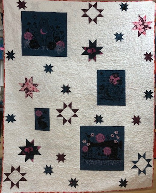 Teal Crescent Panel Quilt kit