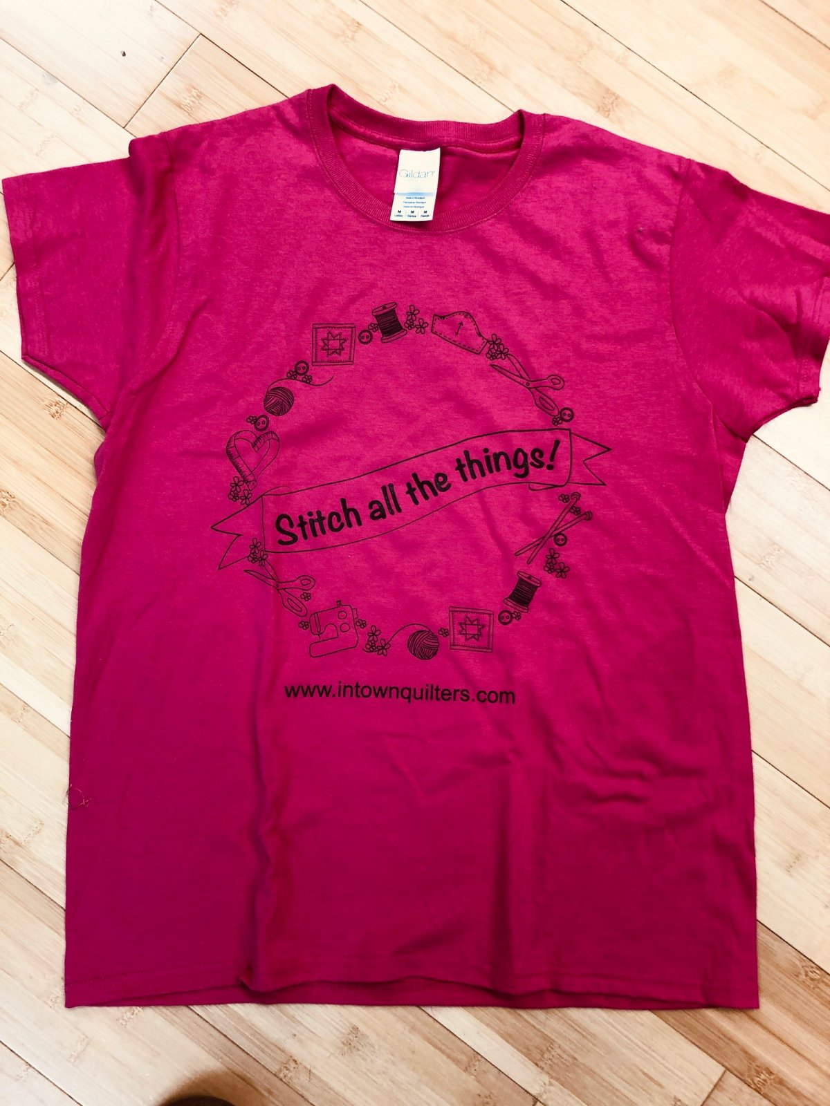 Black on Pink Stitch All the Things T-shirt